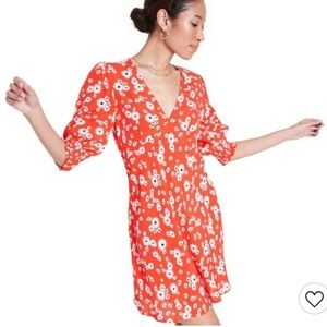RIXO Red Floral Daisy Puff Sleeve Swing Dress 4